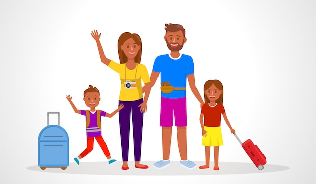 Family going on summer holiday vector illustration.