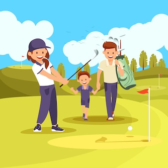 Family golf lesson on green courde at summer time.