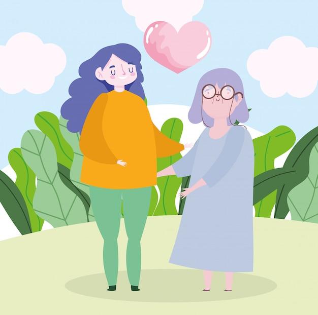 가족 할머니와 손녀 심장 사랑 함께 만화