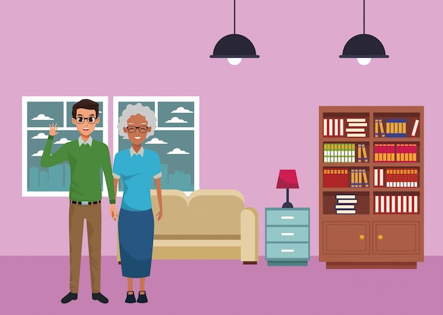 Family grandmother with adult son cartoon