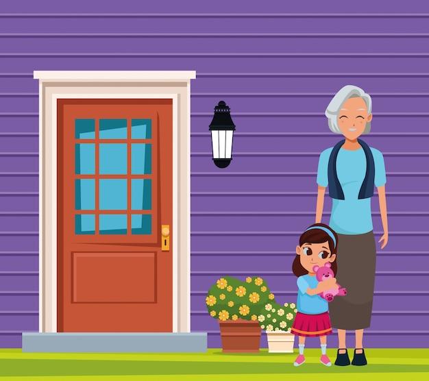 Family grandmother with grandchildren cartoon