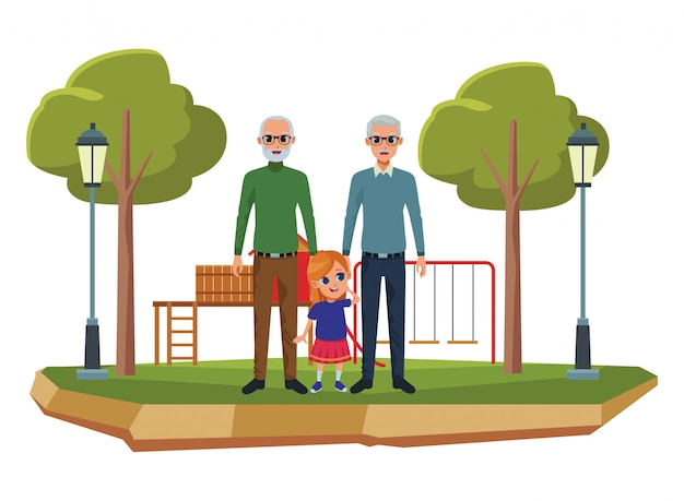 Family grandparents and grandchildren cartoons