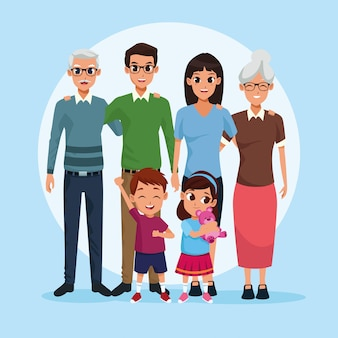 Family grandparents, parents and kids cartoons