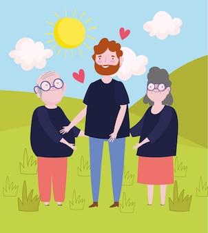 Семья бабушка и дедушка с человеком на открытом воздухе