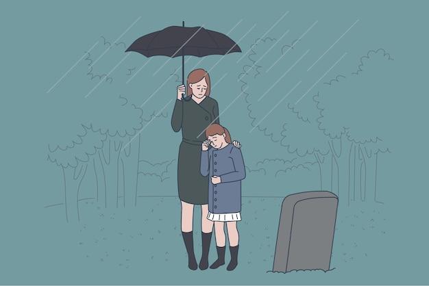 가족 슬픔과 손실 개념입니다. 아버지의 무덤 근처 묘지에 서 있는 슬픈 우는 엄마와 딸은 상실 벡터 삽화로 우울하고 부서진 느낌을 받습니다