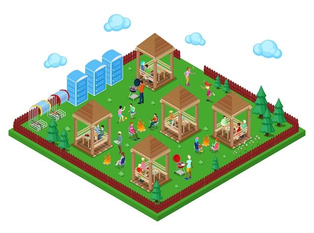 고기를 요리하고 스포츠를 즐기는 활동적인 사람들이 있는 숲 속의 가족 그릴 바베큐 공간. 아이소메트릭 시입니다. 벡터 일러스트 레이 션