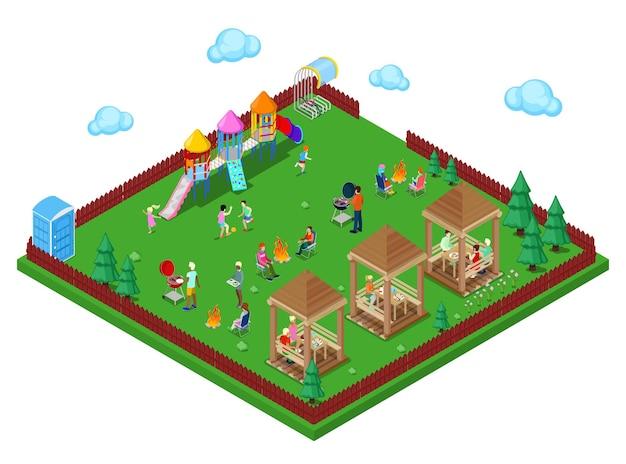 어린이 놀이터와 고기를 요리하는 활동적인 사람들이 있는 숲 속의 가족 그릴 바베큐 공간. 아이소메트릭 시입니다. 벡터 일러스트 레이 션