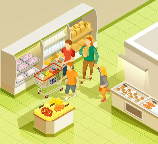 Family grocery shopping supermarket isometric view