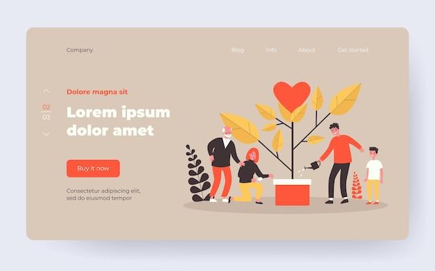 Семейное растущее дерево с сердцем. родители, малыш, бабушка и дедушка плоские векторные иллюстрации. поколение, любовь, концепция отношений для баннера, веб-дизайна или целевой веб-страницы