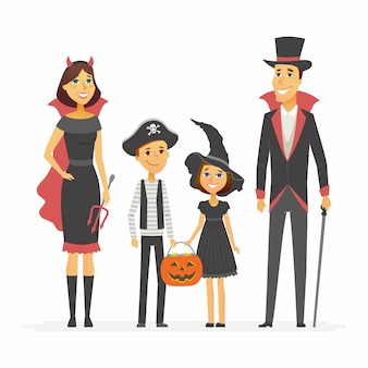 Family at halloween party - cartoon people characters isolated illustration on white background. young parents and their children wearing costumes and holding jack-o-lantern basket