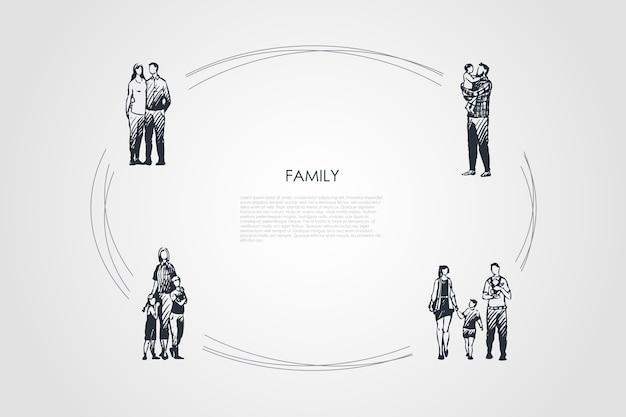 家族の手描きのシクル