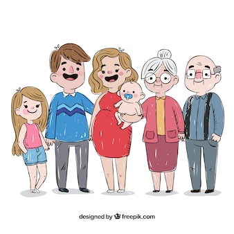 Family in hand drawn style