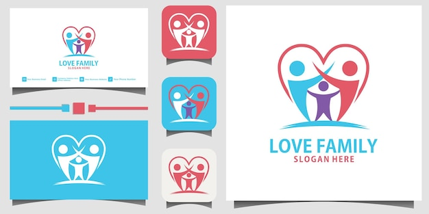 Family happiness logo design vector template business card background
