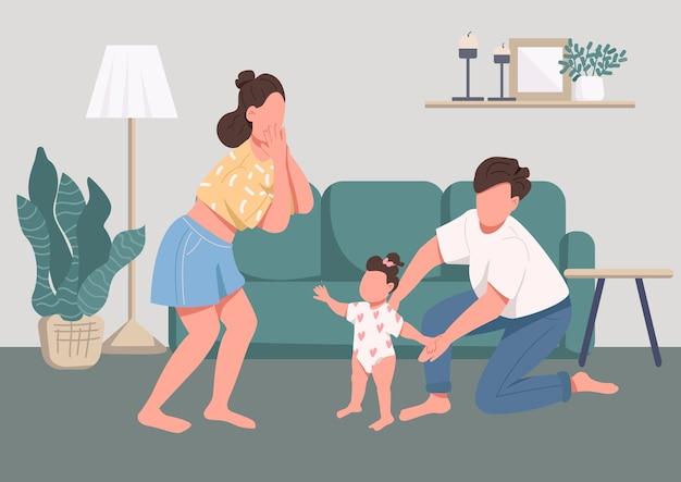 家族の幸せな瞬間フラットカラー。育児と親子関係。歩くことを学ぶ赤ちゃん。若い母、父と子の背景にリビングルームのインテリアと2d漫画のキャラクター