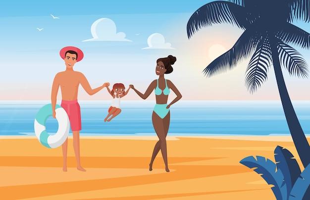 家族の幸せな人々は、夏の海のビーチでの休暇を楽しんだり、日光浴をしたり、一緒に遊んだりしています。