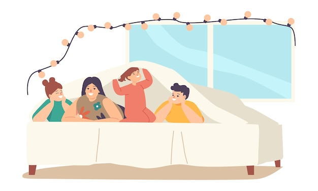 Family happy sparetime, characters mother with teen children and baby lying under blanket on bed in decorated room