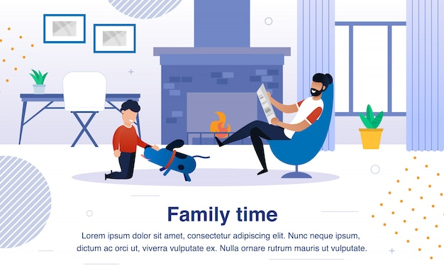 Family happy time flat  banner, poster