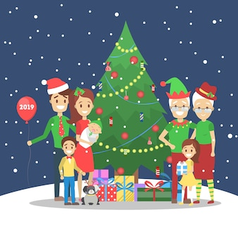 Family have fun together at christmas tree on winter background. traditional holiday decoration and costume for party. happy people with gifts on celebration.   illustration
