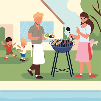 Семья, устраивающая вечеринку с барбекю