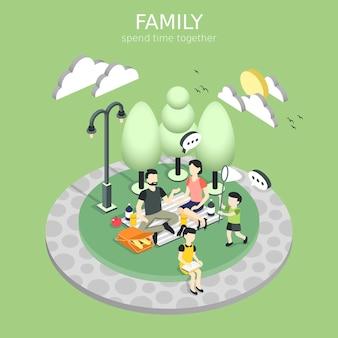 Семья, имеющая концепцию пикника в изометрической графике