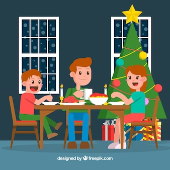 Family having a christmas dinner