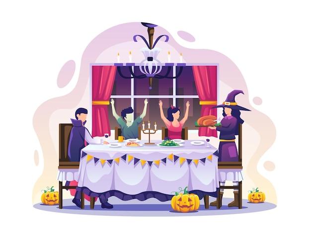 幸せなハロウィーンの夜のパーティーのベクトル図を祝うために夕食と衣装を着ている家族