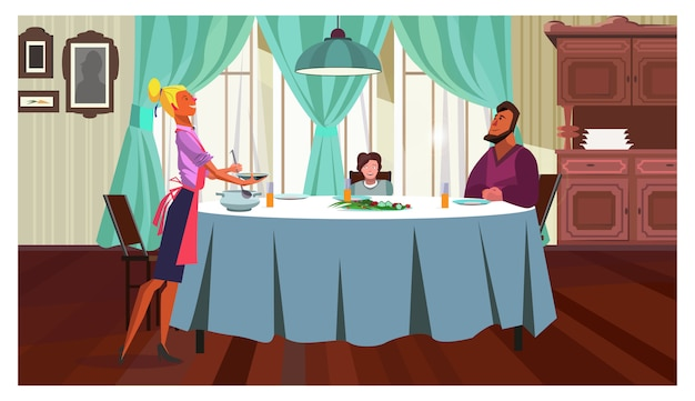 Family having dinner at home illustration