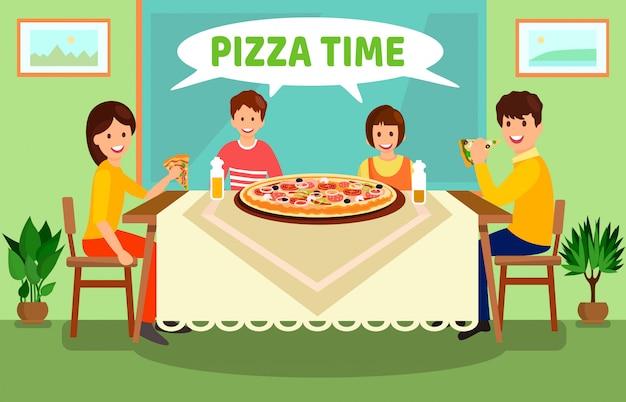 Family having dinner at home vector illustration