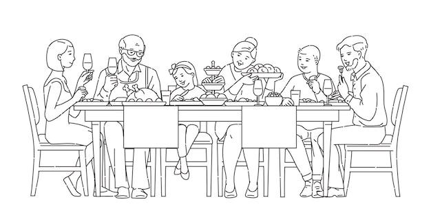 Family having dinner together illustration in black line style
