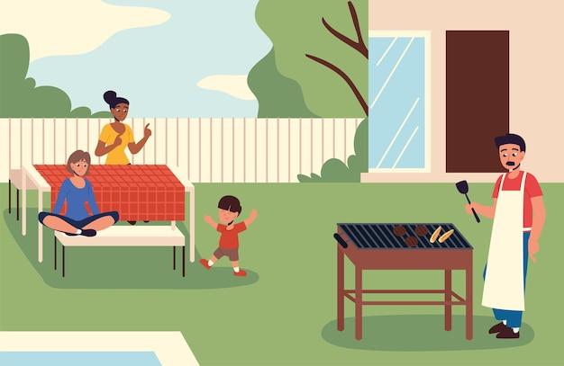 Семья обедает на заднем дворе