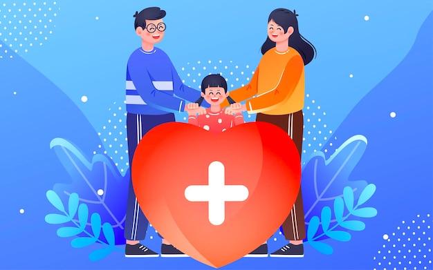 Family health insurance illustration family health insurance protection poster