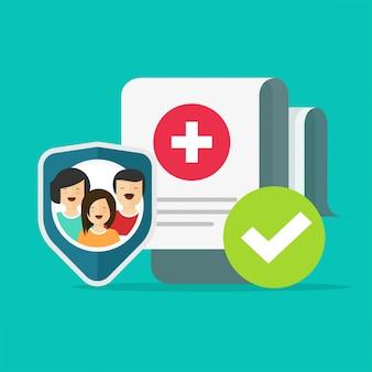 가족 건강 보험 또는 의료 생활 건강 관리 개인 보호 가드 방패 평면 아이콘 기호