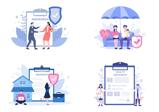 Family health and life insurance flat illustrations set