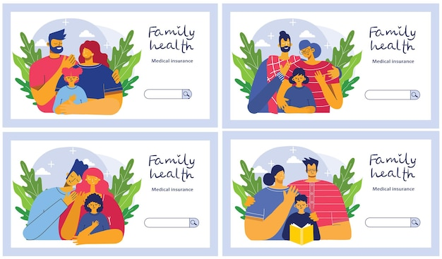 Family health protection, beautiful illustration in the flat style