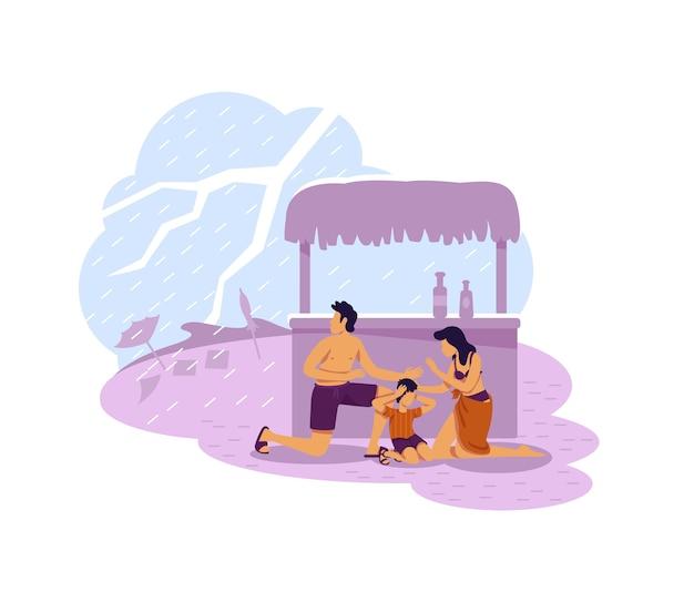 Семья прячется от молнии 2d веб-баннер, плакат. плоские персонажи стихийных бедствий на фоне мультфильмов. тропический климат, патч для печати плохой погоды, красочный веб-элемент