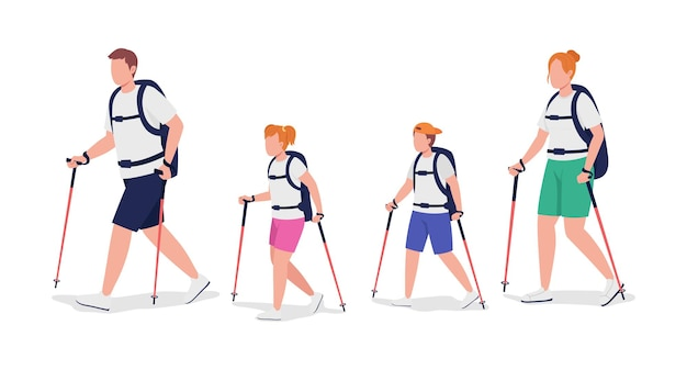 Family of hikers semi flat color vector characters