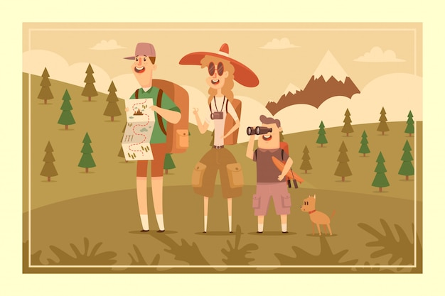 Family hiking adventure vector cartoon illustration of people on a landscape with a mountain.