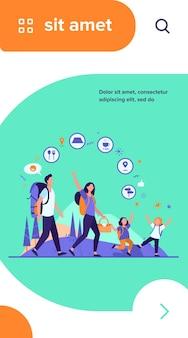 Famiglia escursionismo o concetto di app di posizione