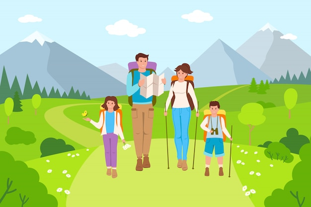 Family hiking mountain landscape cartoon. father, mother and children traveling summer