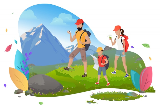Family hiking, mountain tourism, outdoor activity
