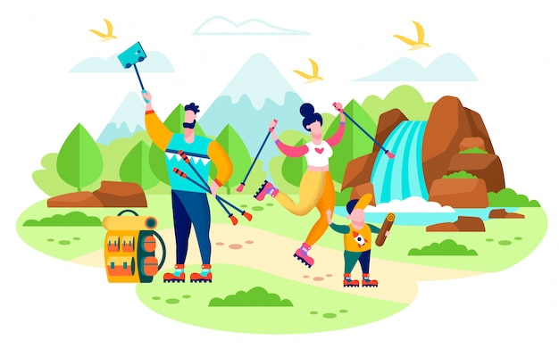 Family hiking in mountains flat vector concept