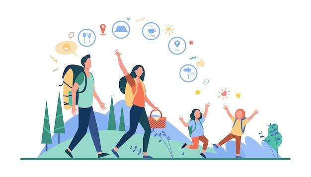 가족 하이킹 또는 위치 앱. 아버지, 어머니, 아이들은 야외에서 걷고 배낭과 피크닉 바구니를 들고 있습니다. 캠핑, 모험 여행, 활동적인 등산객 주제에 대한 벡터 일러스트 레이션