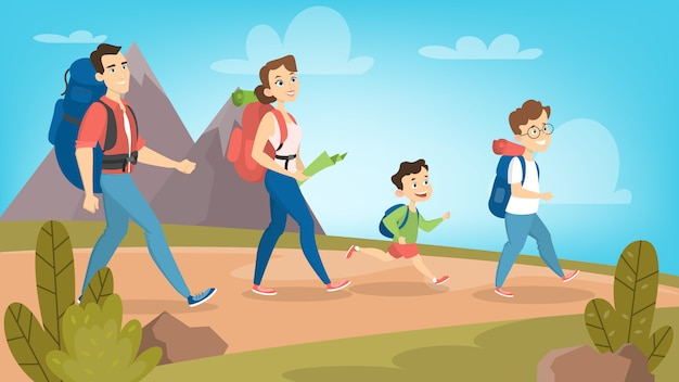 Family hiking outdoors with backpack on hills.