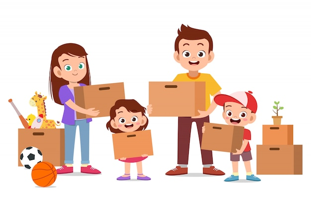 Family holding cardboard moving house