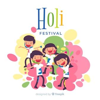 Family holi festival background
