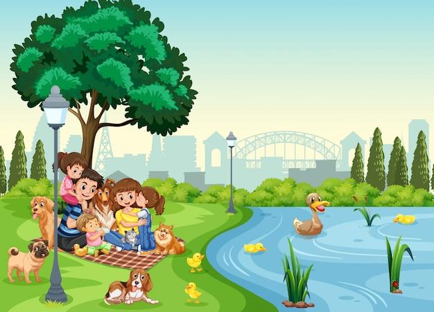 공원에서 가족 휴가