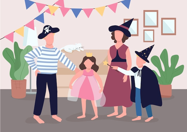 Family holiday celebration  color  illustration. parents get kids ready for halloween. children dress up in costumes. relatives  cartoon characters with interior on background