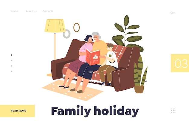 Family holiday concept of landing page