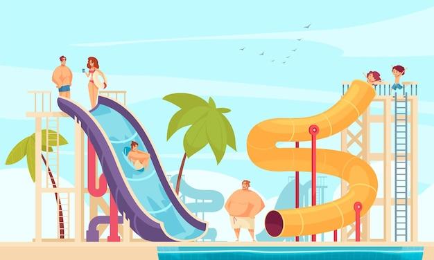 모든 연령대의 만화 구성을위한 튜브 워터 슬라이드 명소가있는 아쿠아 파크의 가족 휴가
