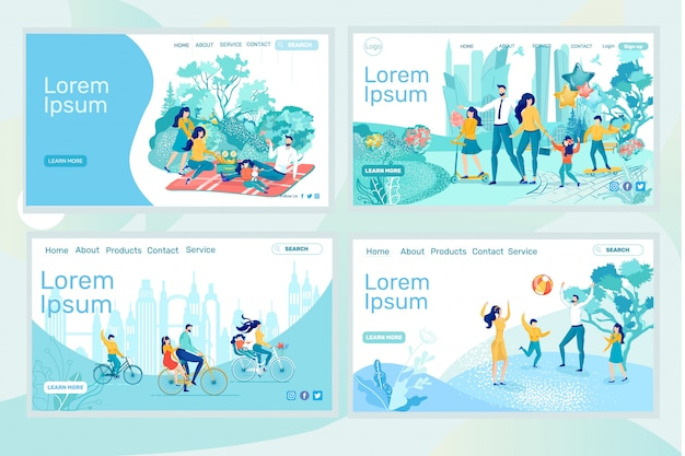 Family holidays. set four landing page templates